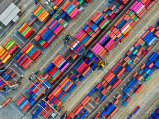 aerial photo of container van lot