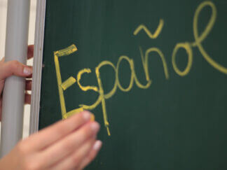 teaching blackboard with spanish