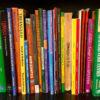 bookshelf of spanish textbooks